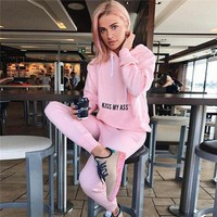 Women Casual Simple Letter Long Sleeve Hooded Sweater Trousers Set Two-Piece Sportswear