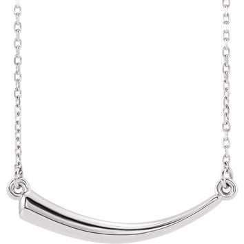 Sterling Silver Horizontal 2D Italian Horn Necklace, 16-18 Inch