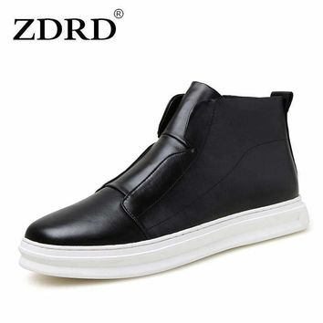 ZDRD 2018 New Brand Fashion Ankle Boots Men Autumn Spring Shoes Men Wedge Boots  Men PU Leather Boots Solid Zip Men Casual Shoe