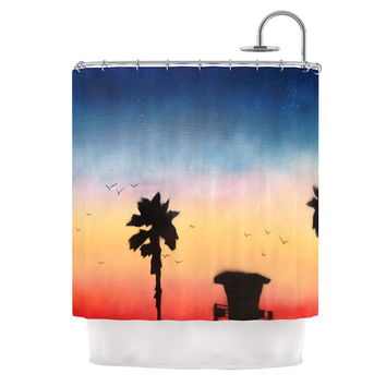 "Infinite Spray Art ""Carlsbad Sunset"" Coastal Painting Shower Curtain"