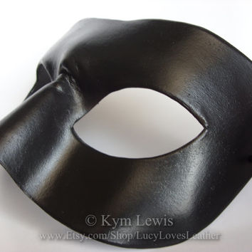 Black Leather Mask, Masquerade Mask, Simple Costume, Masked Ball, Unisex Costume, Plain Black Mask, Cosplay Costume, Real Leather Mask