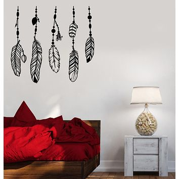 Vinyl Wall Decal Ethnic Style Bird Feathers Dreamcatcher Stickers (3947ig)