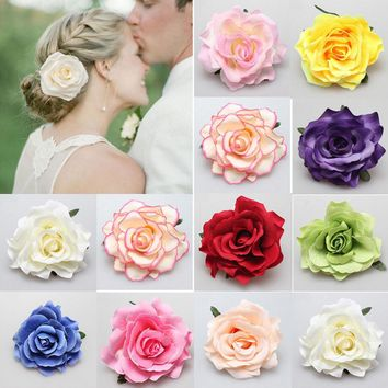Women Girl Bohemia Bridal Flower Rose Hair Clip Hairpins Barrette Wedding Decoration Hair Accessories Beach Hairwear