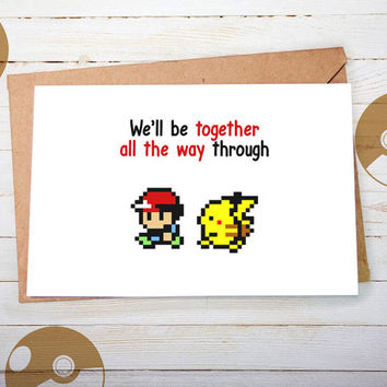 Anniversary Card, Pokemon Go, Funny Card, Valentines Day Card, Pokemon, Pikachu, Pokemon Gifts, Pokeball, Love Card, for Boyfriend, Gameboy