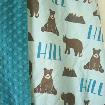 Personalized Bear and Mountain Baby Blanket - Exclusive Design