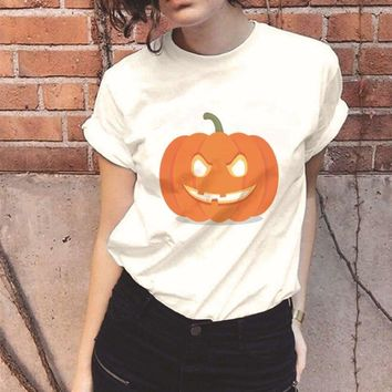 d6a7db9c T Shirt Women 90s Funny Halloween Shirt Pumpkin Plus Size Tee Sh