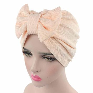 Women Big Bow Turban caps Cancer Chemo hat Beanie Scarf Head Wrap Cap Bow hat for Female Womens fashion Gorras mujer Casquette