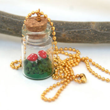 Tiny  red mushrooms in a bottle necklace, Fly agaric
