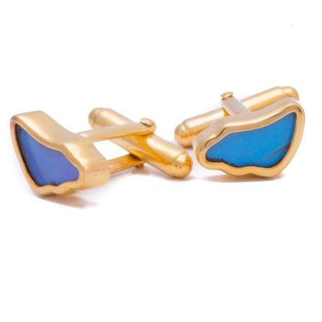 Gold butterfly cufflinks  - Iridescent Blue Wing Shaped Morpho Didius
