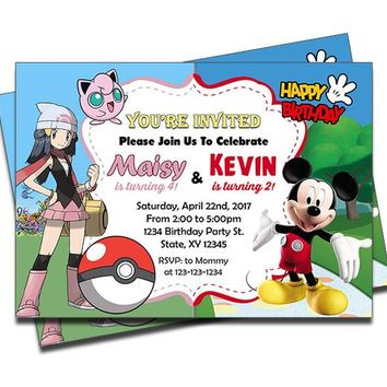 PRINTED Mickey Mouse And Pokemon Double Joint Twins Siblings Personalized Birthday Invitation