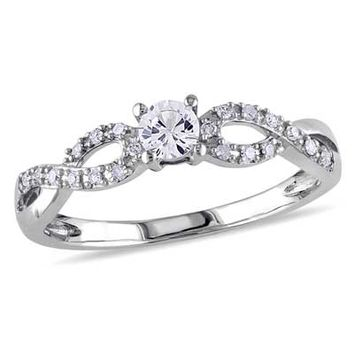 3.5mm Lab-Created White Sapphire and Diamond Accent Promise Ring in 10K White Gold