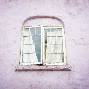 "Window photography - purple house photograph pastel pale lavender lilac white photography architecture old window 8x10 16x20 ""Lilac Window"""