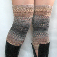 regular price Boot Cuff Boot Toppers Leg Warmers Striped Beige Cream Gray Boot Socks Knit Legwarmers Cable Knitted
