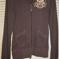 Hollister Zip Up Brown Jacket Ladies Woman Size Medium Sweater Athletic Tops