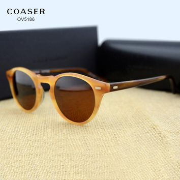 COASER OV5186 Round Acetate Eyeglasses Frame Polarized Sunglasses Men Women Brand Designer Vintage Gafas De Sol Sun Glasses