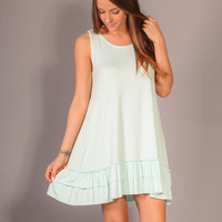 Ocean Sounds Tank Dress - Mint