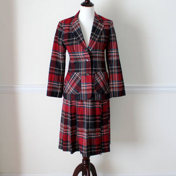 Vintage Two Piece Plaid Jacket and Skirt