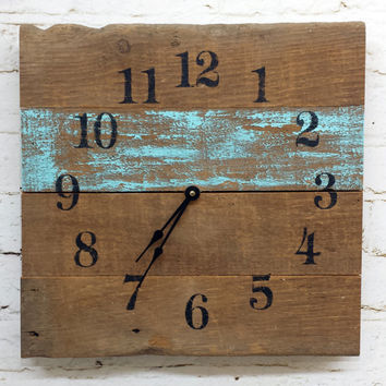 Aqua Reclaimed Barn Wood Clock Recycled Like Pallet Clock Barnwood Rustic Primitive Shabby Cottage Chic Handmade Made in USA Christmas Gift