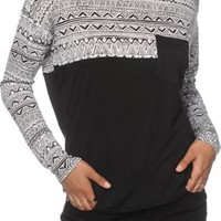Empyre Corey Black & White Tribal Dolman Top