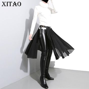 [XITAO] Europe 2017 Autumn New Women Solid Color Loose Pleated Skirts Female Knee-Length Adjustable Metal Buckle Skirts XWW850