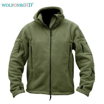 WOLFONROAD Men Military Tactical Jacket Winter Fleece Jacket Men Outdoor Thermal Hiking Jacket Coat Autumn Hunting Sport Clothes