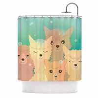 "Graphic Tabby ""Alpacas In Snow"" Pastel Animals Shower Curtain"