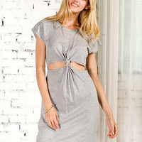 Grey Cut-Out Waist Dress