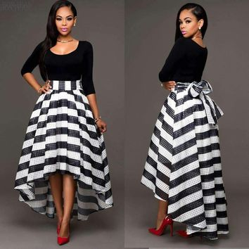 2018 O-neck Real Knee-length Woman New European Fashion Word Collar, Two Piece Set Skirt, Long Sleeved Blouse + Stripe Skirt