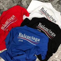 Balenciaga  :Fashion men and women couple classic shirt T-shirt