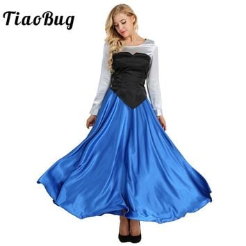TiaoBug 3Pcs Women Adult Cosplay Costume Princess Party Dress Ball Gown Long Sleeve Mermaid Role Play Party Elegant Set