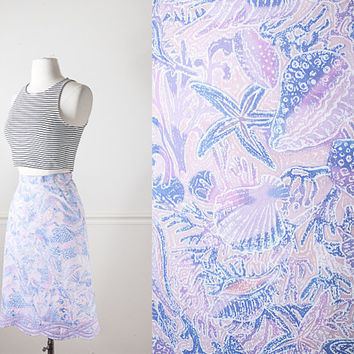 1960s Seashell Print Skirt / Novelty Print Skirt / Vintage 60s Skirt / High Waisted Midi Skirt / Nautical Pastel Pink Skirt / 70s Skirt