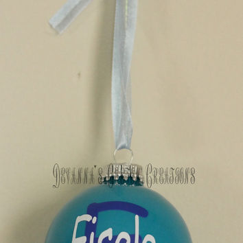"Baby's First Christmas 3"" Ornament Personalized for A Boy with Name and Initial"