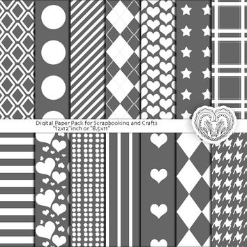 Gray Digital Craft Paper, scrapbook patterns, instant download background