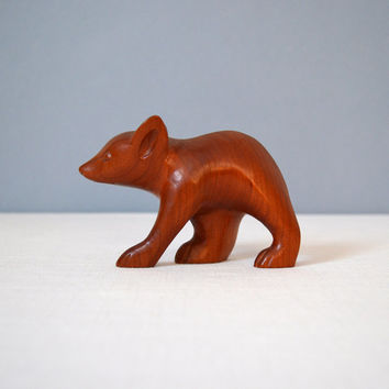 Vintage Cherokee Wood Carving - Bear Cub Figurine