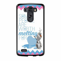 Olaf Quote Melting The Disney Frozen Pink Blue Chevron LG G3 Case