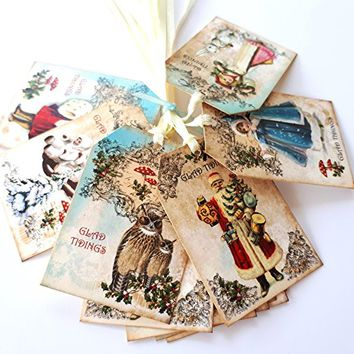 Vintage Glad Tidings Christmas Gift Tags - Winter Holiday Favor and Journal Planner Tags - Set of 24