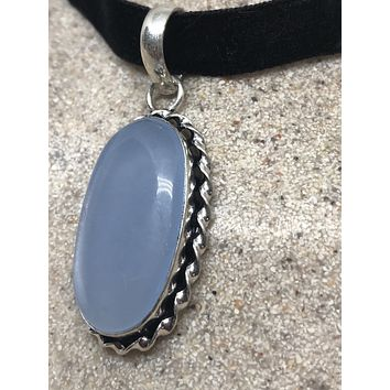 Nemesis hand made blue chalcedony Choker necklace