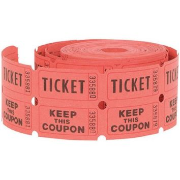Double Roll Raffle Tickets, 500ct, red