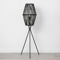Rattan Diamond Tripod Floor Lamp Black - Opalhouse™