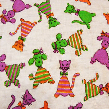 Vintage 1970s Novelty Fabric Poodles and Cats Knit Fabric 2 yards Orange Purple Green