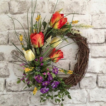 Tulip Spring Wreath, Easter Wreath, Spring Decor, Spring Door Wreath, Front Door Wreath, Silk Floral Wreath,Outdoor Wreath,Mother's Day,Etsy