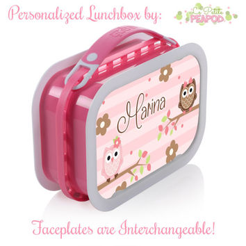 Owl Lunchbox - Personalized Lunchbox with Interchangeable Faceplates - Double-Sided Pink and Brown Owls N Flowers Lunchbox