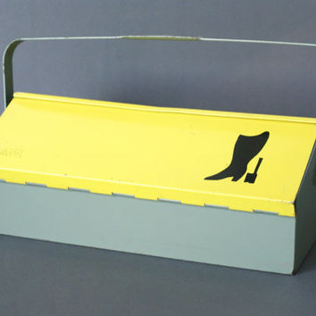 MEWA Metal Shoe Cleaning Box, Wilhelm Kienzle Utility Box, Swiss Design, Made in Switzerland, 1950s Mid Century Modern Caddy, Bauhaus