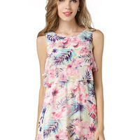 Multicolor Floral And Leaves Print Layered Sleeveless Dress - Choies.com