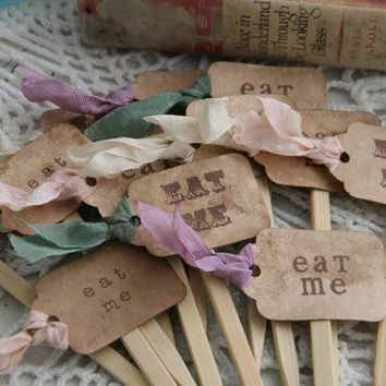 Set of 24 EAT ME Cupcake Toppers Alice in by pinkcherrymama