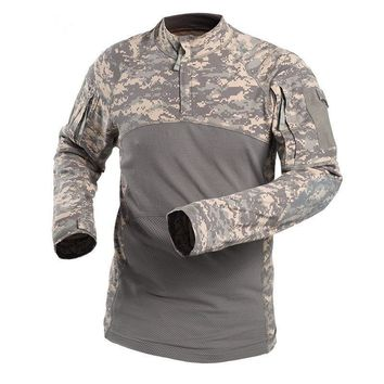 Men Sports Long Sleeve Cotton Breathable Shirt Male Outdoor Shooting Hunting Climbing Camping Tactical Training Camouflage Tops