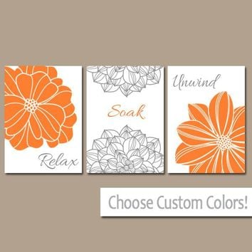 Bathroom Decor, Orange Gray BATHROOM WALL Art, CANVAS or Prints, Bathroom Spice Flower Set of 3 Wall Relax Soak Unwind, Quote Bath Pictures