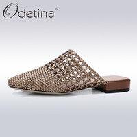 Odetina 2017 Brand High Quality Fashion Women Summer Slingback Weave Shoes Ladies Slip on Low Heel Round Toe Half Slippers Mules