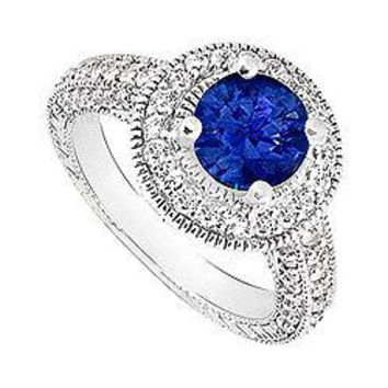 Sapphire and Diamond Halo Engagement Ring : 14K White Gold - 2.15 CT TGW