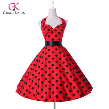 2017 new style Summer Womens Plus size 50s 60s Retro robe Vintage Rockabilly Party Cocktail Dresses Polka Dots Pin up clothing